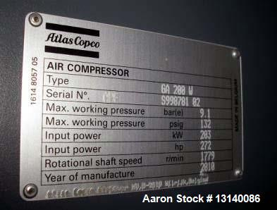 Unused- Atlas Copco Model GA200-W Rotary Screw Compressor
