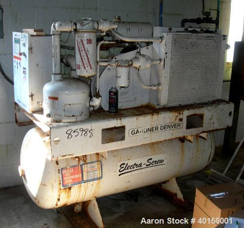 Used:  Gardner Denver rotary screw tank mounted air compressor, model EBE99K. Approximately 92 acfm at 125 psig. Air cooled....