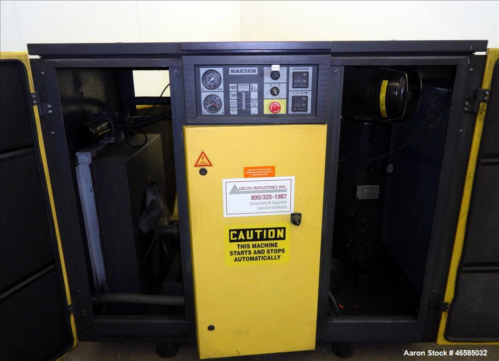 Used- Kaeser Air Cooled Rotary Screw Compressor, Model BS51. Approximate 182 cfm at 125 psi. Driven by a 40hp, 3/60/440-480 ...