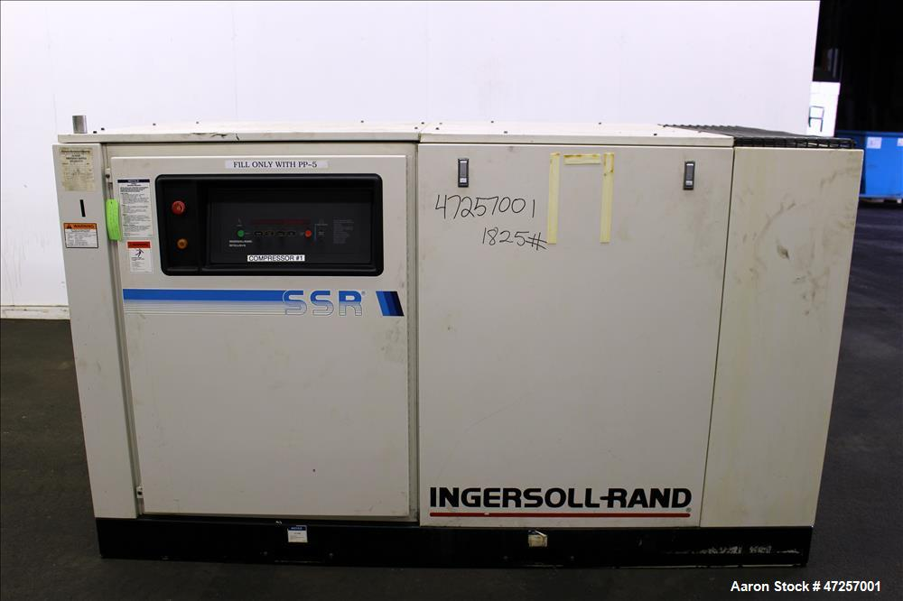 Used- Ingersoll-Rand Air Cooled Rotary Screw Air Compressor, Model SSR-EP60.