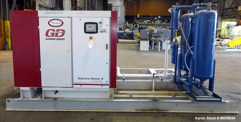 Used- Gardner Denver 100 HP Electra-Saver II Air Compressor, Serial# S388081. rated 495 ACFM @ 100 PSI. (387 SFCM output).  ...