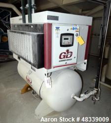 Used- Gardner Denver Electra-Saver II Tank Mounted Rotary Screw Air Compressor, Model EBE99Q, Serial# S386278. Rated approxi...