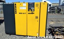 Used- Kaeser BSD rotary screw compressor, model BSD 60 T. Rated 288 cfm at 125 psig, 60hp motor, serial# 1053, built 2007. I...