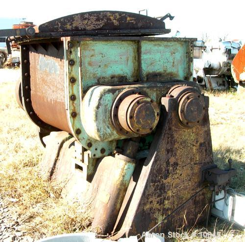 USED: Baker Perkins double arm mixer. Sigma blades, jacketed. Unit iscarbon steel, has 80 psi jacket, hydraulic tilt, no pum...