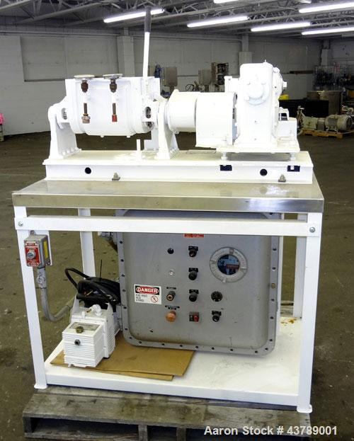 Used- Aaron Process Machinery Lab Size Double Arm Mixer, 2 gallon working capacity (7.5 liters), 3.7 gallon total capacity (14 liters)