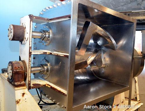 "Used- J.H. Day Double Arm Mixer, 150 gallon working capacity, 225 total, 304 stainless steel.  Non-jacketed bowl 46"" left to..."