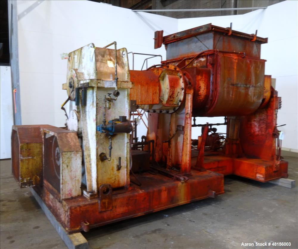 Used- Malaxeurs Overlapping Double Arm Mixer, Approximate 250 Gallon.