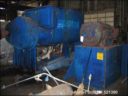 USED: Aaron Process double arm sigma blade mixer. Working capacity500 gallons, total capacity 800 gallons. Bowl dimensions 5...