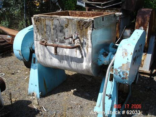 Used: Carbon Steel Guittard 100 gallon double arm tangential sigma blade mixer