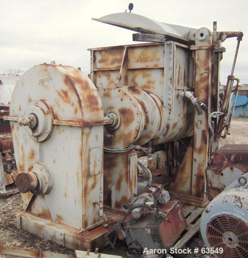 "Used- Double Arm Mixer, Approximate 350 Gallon, Carbon Steel. Jacketed trough measures approximately 49 3/4"" front to back x..."