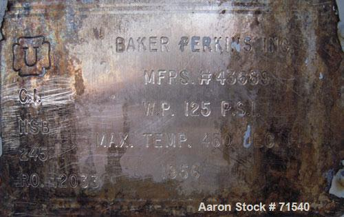 Used- Carbon Steel Baker Perkins Double Arm Mixer, Approximate 50 Gallon Working Capacity