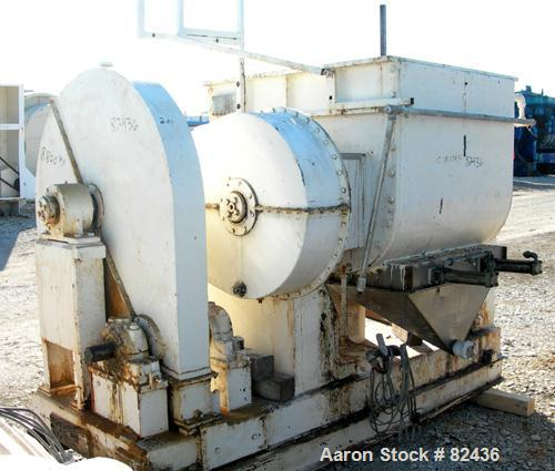 "USED: J H Day double arm mixer, 150 gallon working capacity, 304 stainless steel. Carbon steel jacketed bowl 39-5/8"" left to..."
