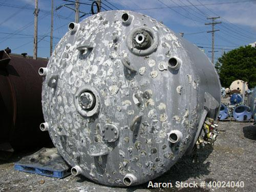 "Used- Dedietrich Glass Lined Reactor, 5000 gallon, 3009 blue glass. Approximately 108"" diameter x 90"" straight side, dished ..."