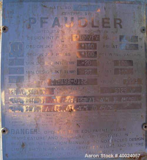 "Used- Pfaudler K Series Glass Lined Reactor, 750 gallon, 9129 white glass, model KC-60-750-100. 60"" diameter x 60"" straight ..."
