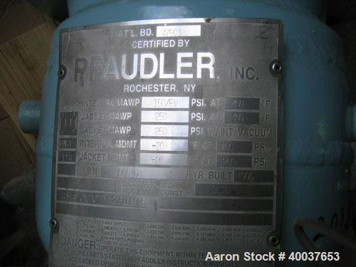 Used- Pfaudler Glass Lined Reactor, 2 Gallon, 9115 Glass. Internal rated 150 psi/fv at 450 deg F, jacket rated 250 psi at 35...