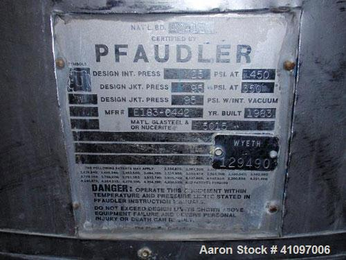 Used- Pfaudler Glass Lined Reactor, 300 Gallon, 5015 Blue Glass, Vertical. Internal rated 25 psi and full vacuum at 450 deg ...
