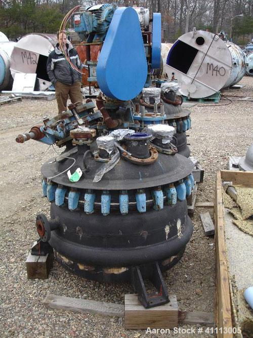 Used- Pfaudler Glass Lined Reactor, 50 gallon, 5015 glass, vertical. Clamp top head. Internal rated 100 psi and full vacuum ...