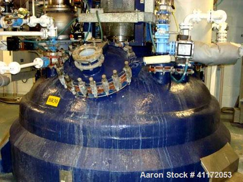 Used- Pfaudler Glass Lined Reactor, 2642 Gallon (10,000 liter), White Glass, Vertical. Clamp dish top, welded bottom. Intern...