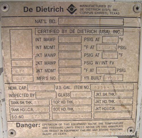 Used- De Dietrich Closed Top Glass Lined Reactor Body, 750 gallon, 3009 white glass with calibration lines. Approximately 61...