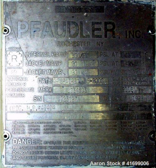 Used- Pfaudler Glass Lined Reactor, 3000 Gallon, Model RA96-3000-100-90, 9119 Blue Glass, Vertical. Internal rated 100 psi/F...