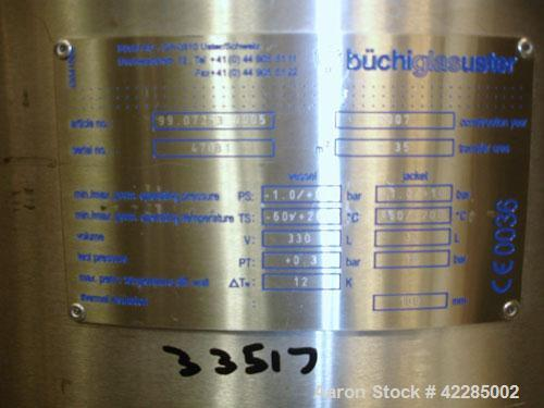 Used- Buchi Reactor Train consisting of: (1) Buchi 250 liter glass reactor, 600mm diameter x 400mm straight side, removable ...