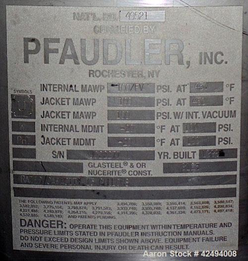 Used- Pfaudler Glass Lined Reactor, 15 Gallon. Flat top, coned bottom. Internal rated 100 PSI & FV at 450 Degrees F, stainle...