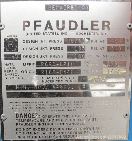 "Used- Pfaudler Glass Lined Reactor, 50 gallon, 5015 blue glass, vertical. Approximate 26"" diameter x 18"" straight side, Clam..."