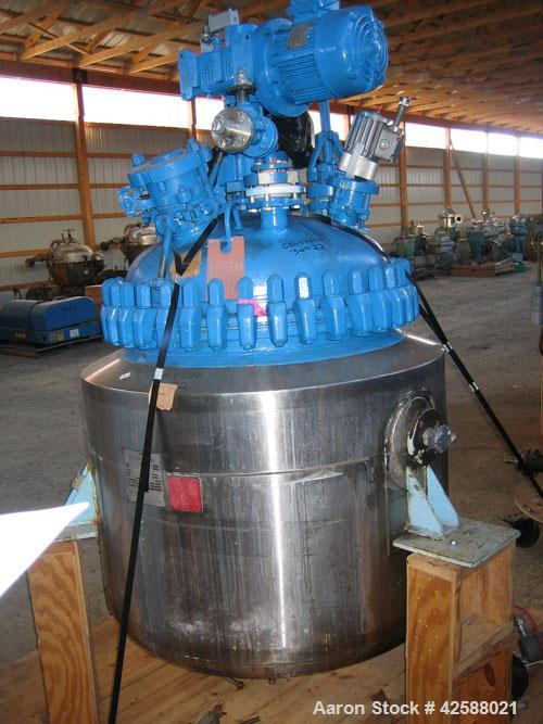 "Used- Pfaudler Glass Lined Reactor, 100 gallon, model E32-100-100-150. 32"" Diameter x 24"" straight side. 2:1 Elliptical bolt..."