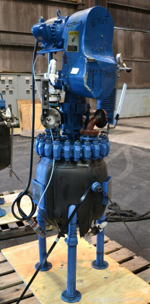 Used- Pfaudler Clamp Top Glass Lined Reactor, 10 Gallon, 3315 Blue Glass. Vertical. Approximately 14'' diameter x 14'' strai...