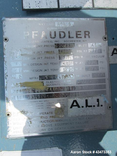 Used- Pfaudler Glass Lined Reactor, 200 Gallon, 5019 Glass. Internal rated 100 psi & Full Vacuum at 450 degrees F. Jacket ra...