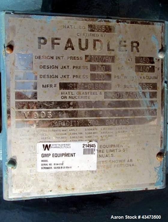 Used- Pfaudler Glass Lined Reactor, 300 Gallon, 5015 Glass, Vertical. Internal rated 100 psi & Full Vacuum at 450 degrees F....