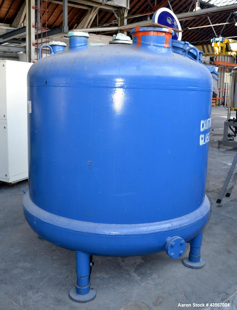 "Used- Tycon Glass Lined Reactor, 2834 Liter (748.88 Gallon), Blue Glass, Vertical. Approximately 62"" diameter x 48"" straight..."