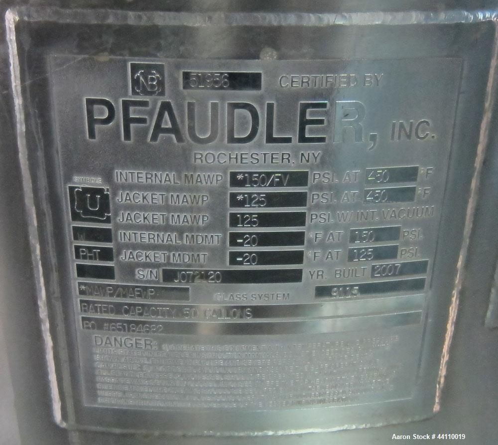Used- Pfaudler Glass Lined Reactor, 50 Gallon. Internal rated 150 psi & Full Vacuum at 450 degrees F, jacket rated 125 psi &...