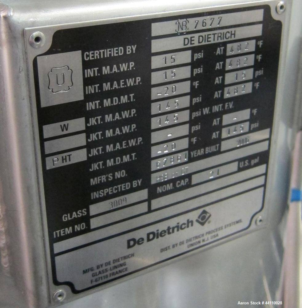 Unused- DeDietrich Glass Lined Reactor, 21 Gallon. Internal rated 15 psi & Full Vacuum at 482 degrees F, jacket rated 145 ps...