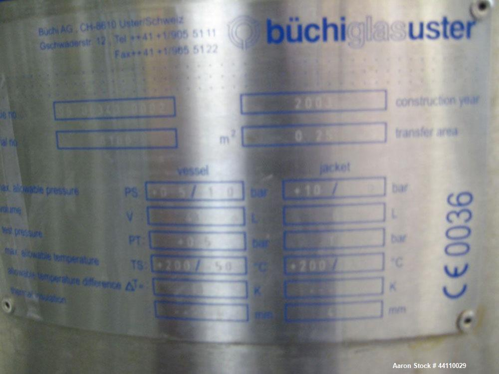 Used- Buchi Glass Reactor, 30 Liter (7.9 Gallon). Internal rated +0.5/-1.0 bar at +200/-50 degrees C, jacket rated +10/-1.0 ...