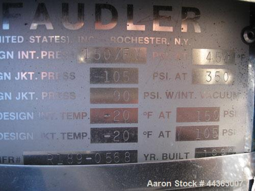 Used- Pfaudler Glass Lined Reactor, 100 gallons, model R30-100-150-105, rated 150 psi and full vacuum at 450 F internal, jac...