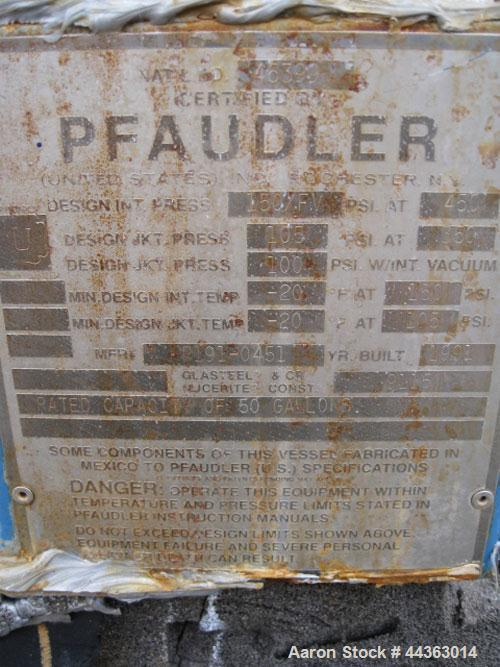 Used- 50 Gallon Pfaudler Glass Lined Reactor
