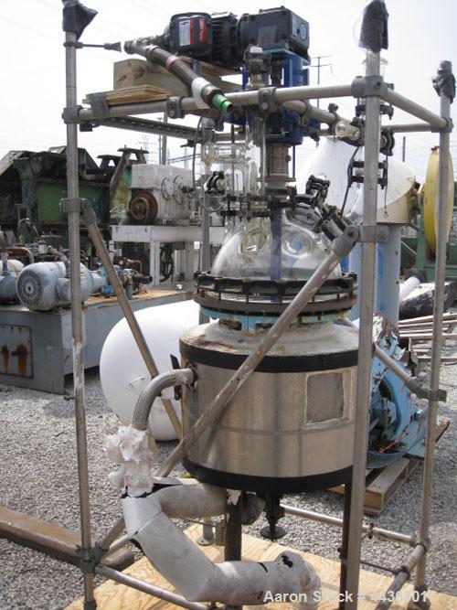 "Used- Pfaudler Glass Lined Kilo Reactor, 10 gallon glass lined body approximately 18"" diameter x 12"" straight side, dish bot..."