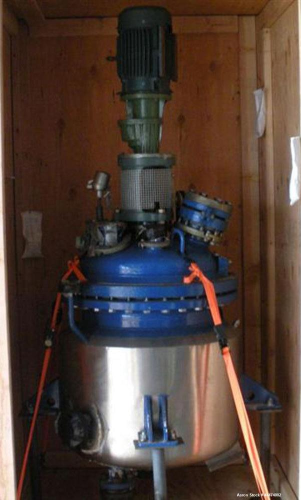 Used- DeDietrich Glass Lined Reactor, 50 Gallon, 3009 Blue Glass. Internal rated 100 psi and full vacuum at 500 degrees F, j...