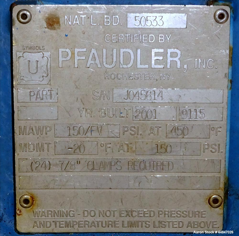 Used- 50 Gallon Pfaudler Clamp Top Glass Lined Reactor