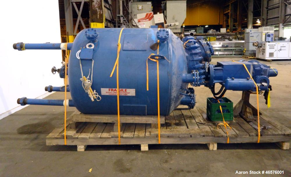 Used- Pfaudler Closed Top Glass Lined Reactor, 500 Gallon, Vertical.