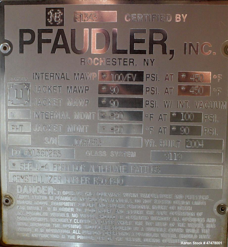 Used- Pfaudler RC Series Glass Lined Reactor Body Only