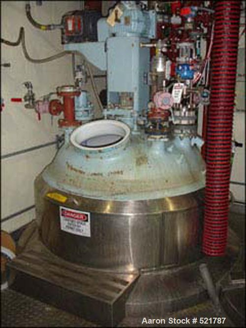 USED: 500 gallon Pfaudler glass lined reactor rated 100 psi @ 450 deg F internal, jacketed for 100 psi @ 450 deg F. 3.5 RW P...