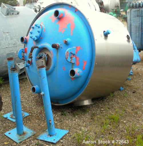 Used- Dedietrich Glass Lined Reactor, 300 Gallon, Model SA-300, Type 3008 Blue Glass, Vertical. Internal rated 100/FV psi at...