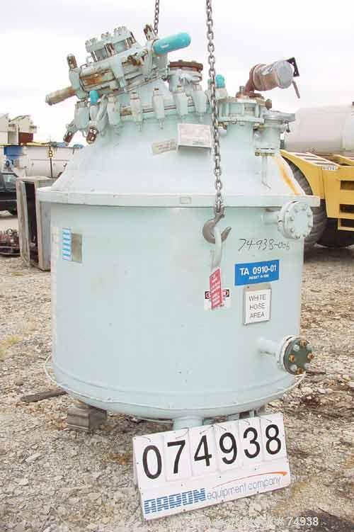 "USED:Pfaudler closed tank glass lined reactor, model RA48-300,300 gallon, vertical. 9115 glass. 48"" diameter x 36"" straight ..."