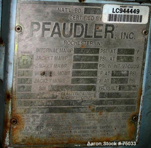 "USED:Pfaudler closed tank glass lined reactor, model RA48-500, 500 gallon, vertical. 9129 white glass. 48"" diameter x 65"" st..."