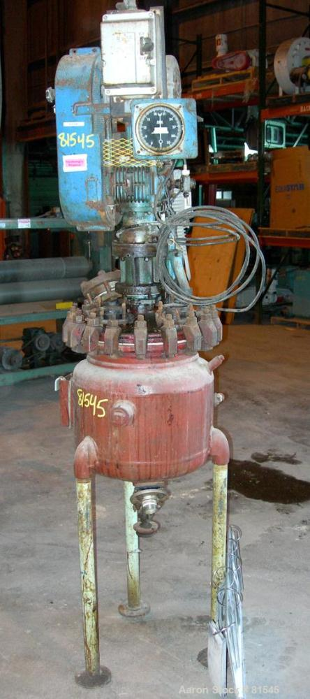 "USED: Pfaudler glass lined reactor, 10 gallon, 3315 glass. 13-3/4"" diameter x 14-1/2"" deep, removable top, dished bottom. In..."