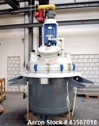 "Used- De Dietrich Glass Lined Reactor, 1180 Liter (311.81 Gallon), 3009 Blue Glass, Vertical. Approximately 48"" diameter x 4..."