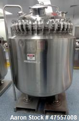 Used- Pfaudler Glass-Lined Reactor, 200 Gallon, 316L Stainless Steel, Vertical.