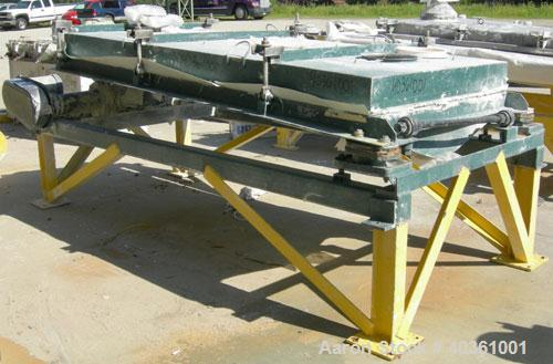 "Used: Rotex screener, model 21, carbon steel. 40"" wide x 84"" long single deck, 2 separation. Clamp down top cover, 2 bottom ..."